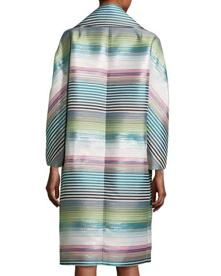 Eve Striped Topper Coat, Blue