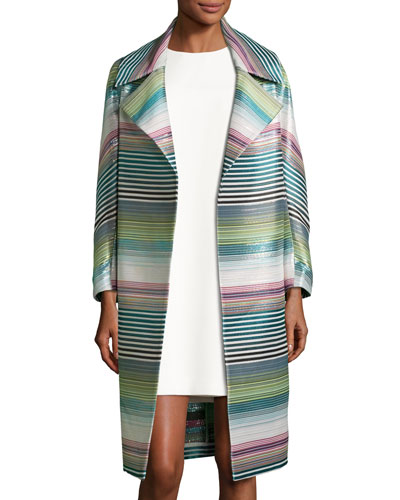 Eve Striped Topper Coat, Blue