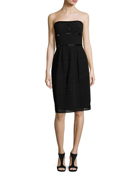Escada Eve Strapless Lace Cocktail Dress, Black