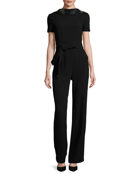 Escada Eve Draped-Back Short-Sleeve Jumpsuit, Black