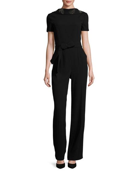 Escada Eve Draped-Back Short-Sleeve Jumpsuit, Black