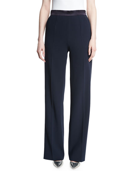 Tiketna Wide-Leg Tuxedo Pants, Navy