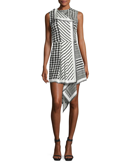 Mixed-Print Sleeveless Asymmetric-Hem Dress, Black/White
