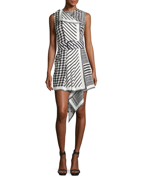 Mixed-Print Sleeveless Asymmetric-Hem Dress, Black/White