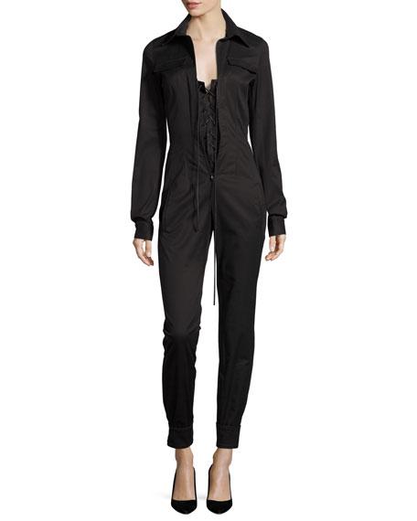 Long-Sleeve Zip-Front Jumpsuit, Black