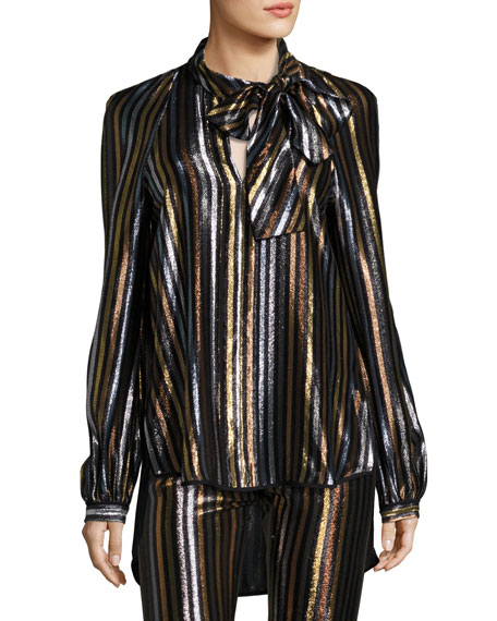Haney Diane Striped Tie-Neck Blouse, Multi