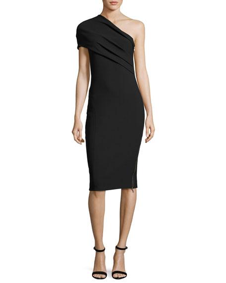 Haney Alexandria Draped One-Shoulder Dress, Black