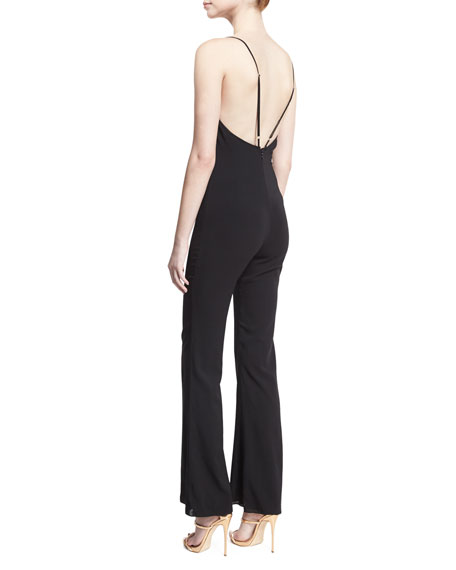 Gloria V-Neck Flared Jumpsuit, Black