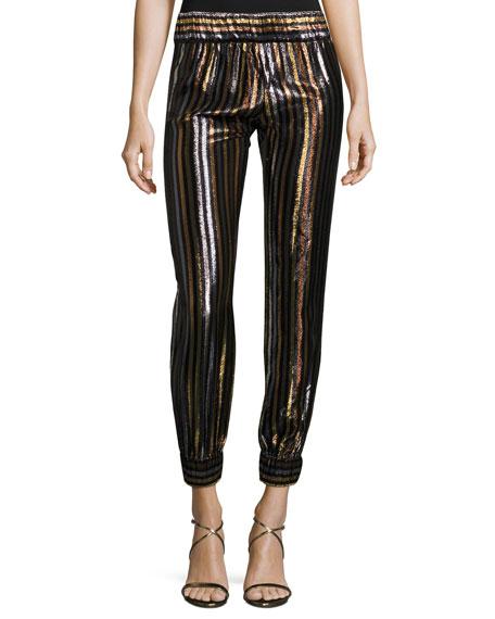 Haney Colette Striped Cocktail Lounge Pants, Multi