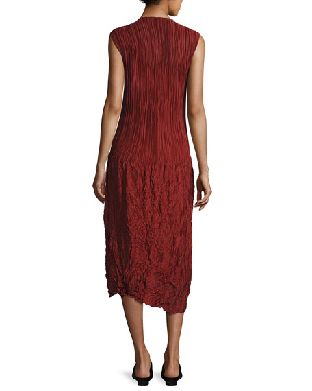 Lucky Pleated Silk Cap-Sleeve Dress, Dark Red