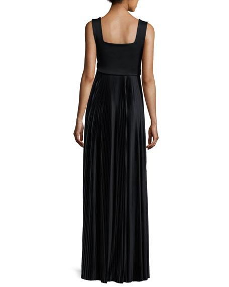 Alain Pleated Sleeveless Gown, Black