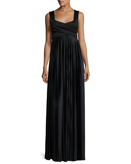 Alain Pleated Sleeveless Gown, Black