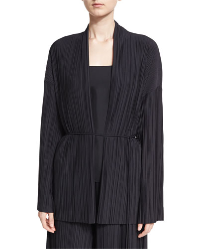 Kim Accordion-Pleated Cardigan, Black