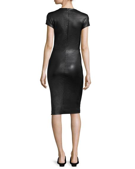 Bocilla Leather Sheath Dress, Black