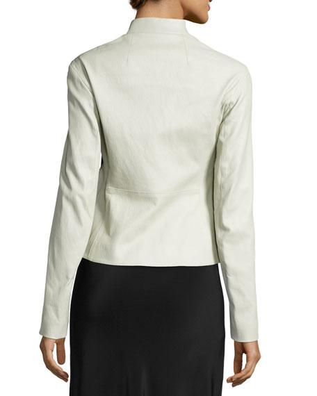 Tripton Leather Zip Jacket, Cream