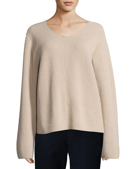 THE ROW Grisa Ribbed Scoop-Neck Sweater, Flesh