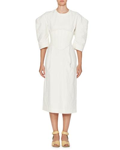 Corset Puff-Sleeve Midi Dress, Cream
