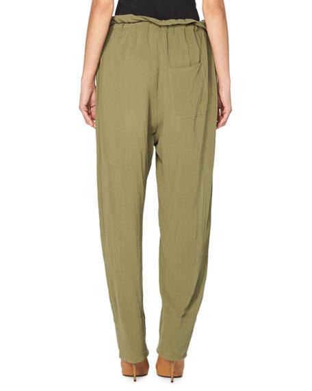 Paperbag-Waist Gauze Trousers, Beige
