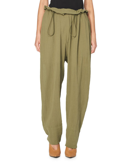Stella McCartney Paperbag-Waist Gauze Trousers, Beige