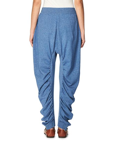 Dropped-Inseam Denim Jogger Pants, Blue