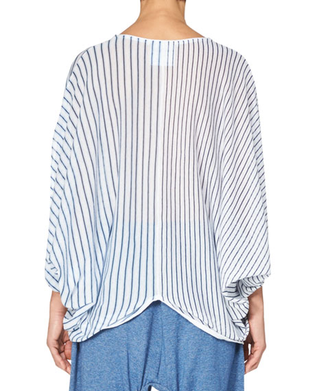 Stella McCartney Striped Cocoon Short-Sleeve Sweater, Light Blue