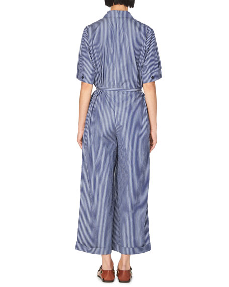 Pinstripe Short-Sleeve Wide-Leg Jumpsuit, Dark Blue