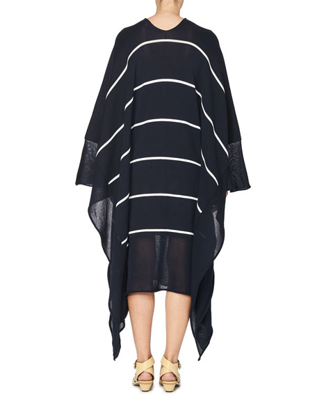 Striped V-Neck Caftan Sweater, Dark Blue