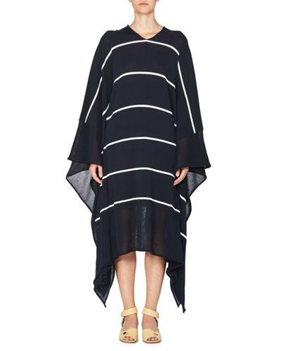 Striped V-Neck Caftan Sweater, Dark Blue