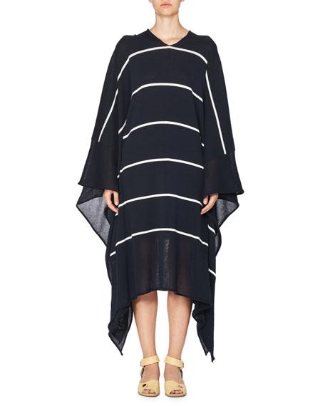 Stella McCartney Striped V-Neck Caftan Sweater, Dark Blue