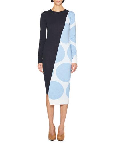 Long-Sleeve Dot & Solid Sweaterdress, Blue/Multi