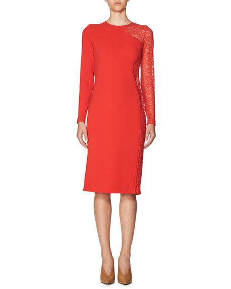 Stella McCartney Lace-Side Long-Sleeve Dress, Red