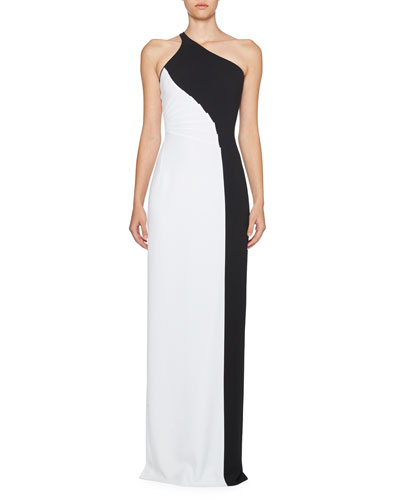 Colorblock One-Shoulder Gown, Black/White