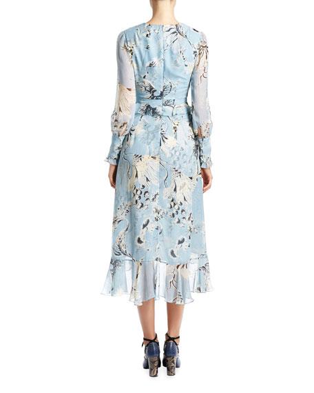 Floral Ruffled Peplum Long-Sleeve Dress, Blue/White