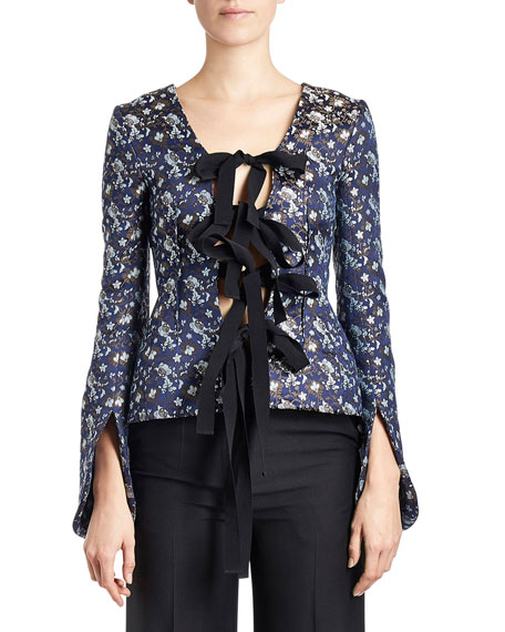 Floral Open Self-Tie Jacket, Navy