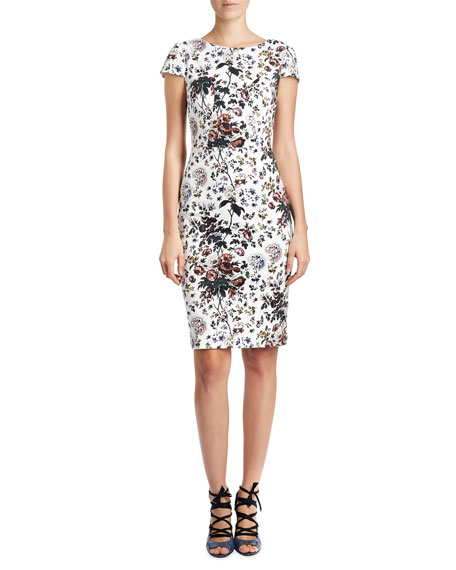 Floral Cap-Sleeve V-Back Sheath Dress, White/Multi