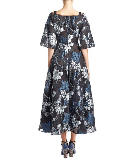 Floral Brocade V-Neck Tea-Length Gown, Black/Blue