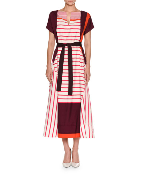 Striped Short-Sleeve Midi Dress, Fuchsia/Maroon