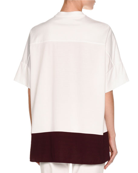 Colorblock Half-Sleeve Tunic, White/Purple