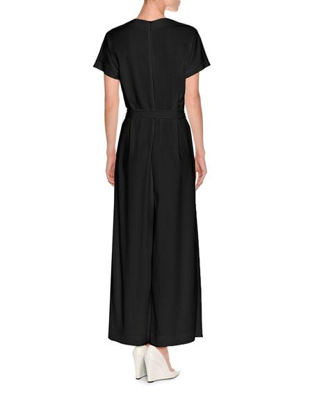 Short-Sleeve Wide-Leg Wrap Jumpsuit, Black