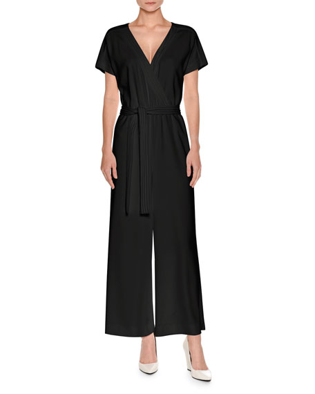 Short-Sleeve Wide-Leg Wrap Jumpsuit, Black