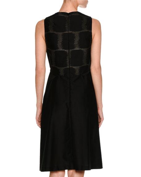 Sleeveless Fil Coupe A-Line Dress, Black