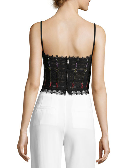 Floral-Embroidered Lace Bustier, Black