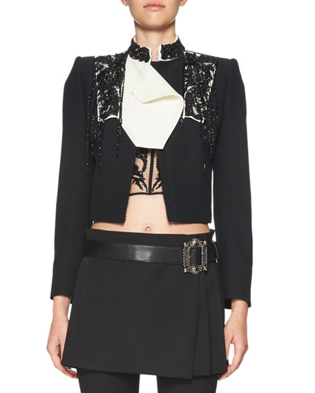Beaded Convertible-Collar Cropped Jacket, Black