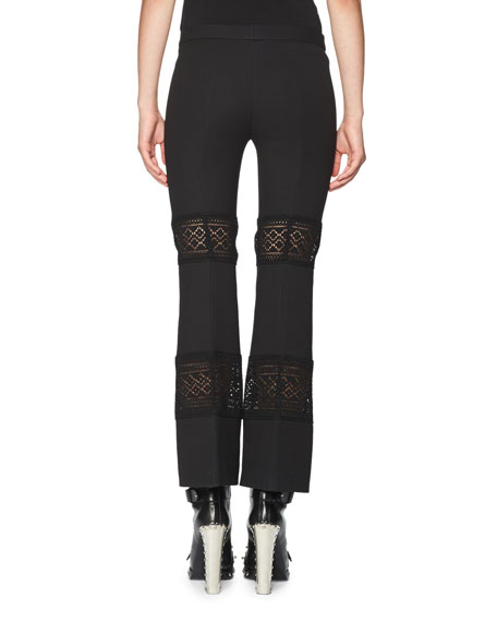 Lace-Inset Kick Crop Pants, Black