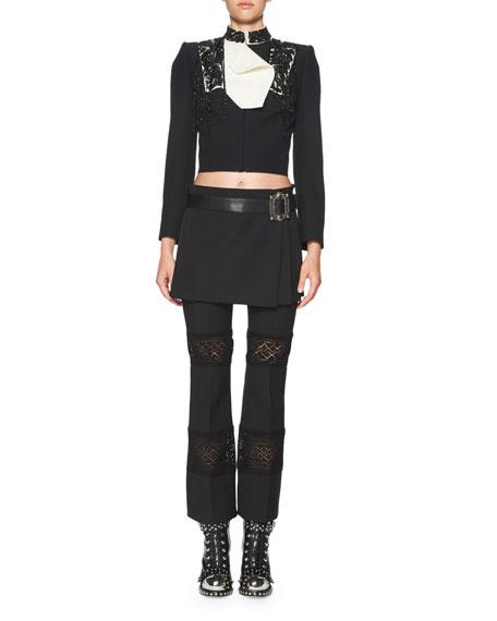 Lace-Inset Kick Crop Pants, Black