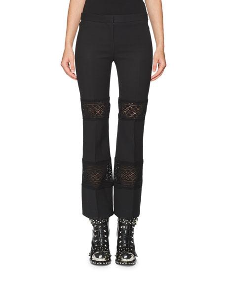 Alexander McQueen Lace-Inset Kick Crop Pants, Black
