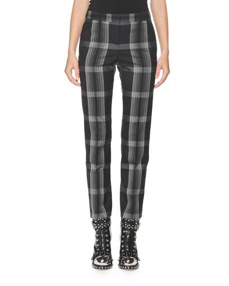Alexander McQueen Plaid Slim-Leg Ankle Pants, Multi