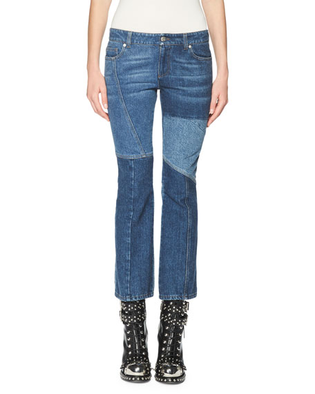 Alexander McQueen Patchwork Kick Crop Jeans, Light Blue