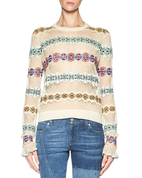 Alexander McQueen Lace Sweater with Fair Isle Insets,