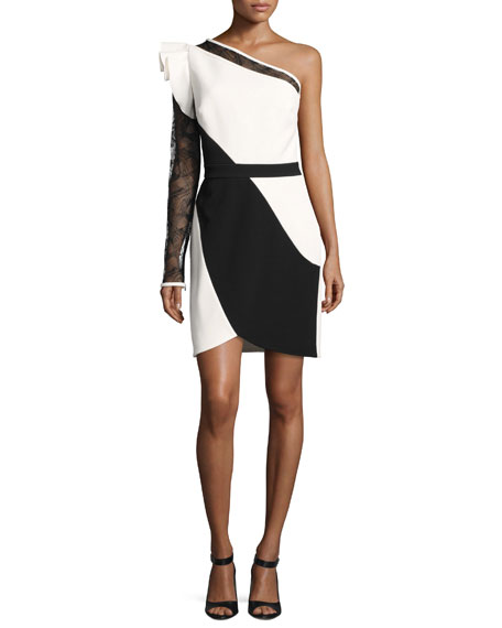 Elie Saab One-Shoulder Lace-Sleeve Minidress, White/Black